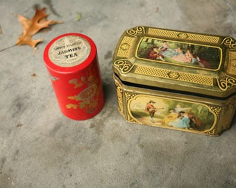 Set of Two, Vintage Tea Canister, Metal Tin Canister Red and Yellow,  Kitchen Decor, Red Decor, Storage, Tea, Home, German Tea Tin,