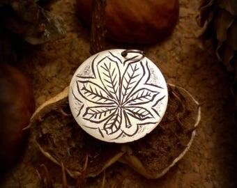 Chestnut leaf Hand engraved round bimetallic pendant Hobonickel coin jewelry