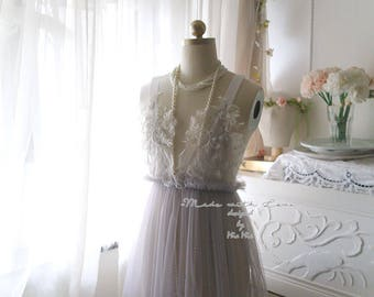 Romantic Fairy Tunic Gray tulle Lace Applique Bridal Wedding Lingerie Dress Nightgown Slip Sheer Women's Beach Coverup Sheer Shabby Chic