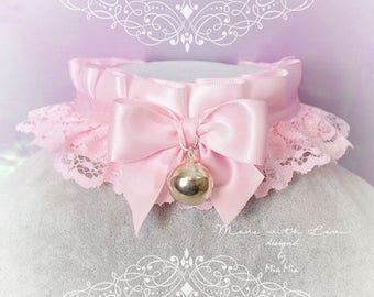 Kitten Pet Play Collar , BDSM DDLG Choker Necklace Baby pink Satin Lace Ruffles Bow Bell Jewelry, pastel goth Lolita ,Fairy Kei, Daddys Girl