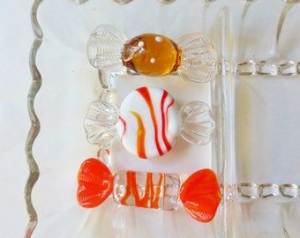 Venetian Art Glass Candy, Three Pieces of Murano Glass Candy