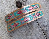 RESERVED FOR KIM Fish - Small etched copper barrettes. Pair of hand etched metal hair barrettes with copper fish pattern in blueS.