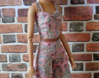 Vintage Paisley Print Culotte Jumpsuit for Barbie or similar fashion doll