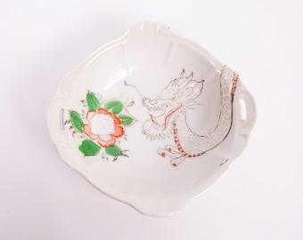 Vintage Dragon Lotus Bowl Flower Japan Moriage Embossed Hand Painted Orange Porcelain Double Handles