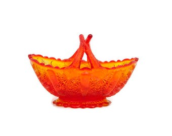 Vintage Fenton Amberina Daisy and Button Split Handle Glass Basket Jelly Basket Candy Bowl Orange and Yellow