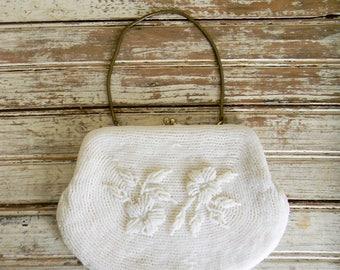 Vintage Beaded Handbag 1960s White Beaded Handbag, Formal Handbag Wedding Bridal Beaded Purse, Clutch Purse, Small White Beaded Handbag 60s