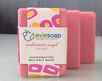 undercover angel - love spell - Sea Salt Soap, Cold Process Soap, Handmade Soap, EvieSoap, vegan soap, palm free soap, free shipping