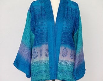 A Delicous Blue Shaded Silk Jacket