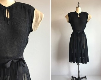 Vintage 40s Rayon Dress / 1940s Sheer Black Rayon Dress with Organza Sleeves