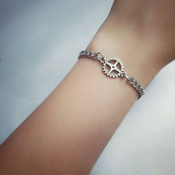 Bicycle Gear Bracelet - Nickel Free Fitness Jewelry for Cyclists or Spinning - Bike Jewelry - Stainless Steel and Pewter - Hypoallergenic