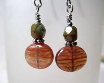 Gothic Earrings Gypsy Jewelry Game of Thrones Earrings Boho Earrings Tribal Earrings Silver Fantasy Earrings Rust Red Earrings- Frisco