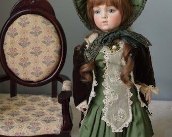 Bru Jne 8 Doll, French Antique Bebe Reproduction, 19 in Bisque Head, Artist Neva Wade Garnett Callie Lou, Human Hair Wig, Silk Dress Bonnet