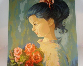 """Kitschy 1960's Young Girl Paint By Number. Unframed 20"""" x 16"""". Bold Colors. Retro Decor. Girl Holding Bouquet of Roses."""