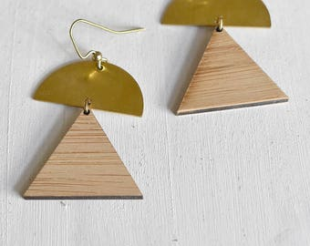 Triangle Drop Earrings // Brass // Bamboo