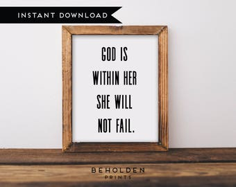 Digital Download, God is Within Her, She Will Not Fail, Bible Verse Printable, Dorm Wall Art, Scripture Printable, Bible Verse Print
