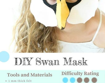 Swan Mask PATTERN. Kids Animal Mask Sewing Pattern. DIY Party Mask.