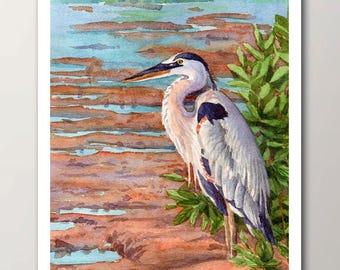 Great blue heron print, unframed watercolor bird wall art decor, artwork by Janet Zeh Original Art