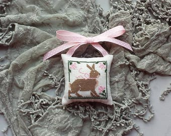 Bunny Pillow Ornament Doorknob Hanger Hand Made Cross Stitch Easter Spring Rustic Primitive Pinkeep Nursery Baby Decor