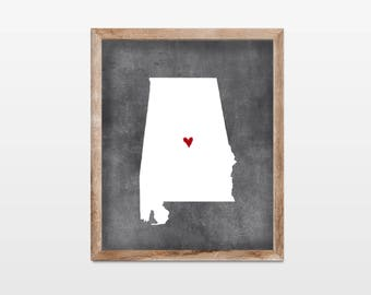 Alabama Chalkboard Personalized Map Art 8x10 Print. State Map Art Print. State Pride Map. Chalkboard Map Wall Art Decor. Alabama Map Gift.