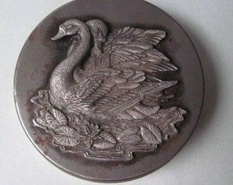 Vintage Metzke Pewter Tin with Swans