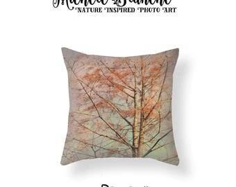 Tree Branches Pillow, Tree Photo Pillow, Aspen Tree Pillow Case, Nature Throw Pillow, Nature woods Decor, Woodsy Nature Throw Pillow Cover