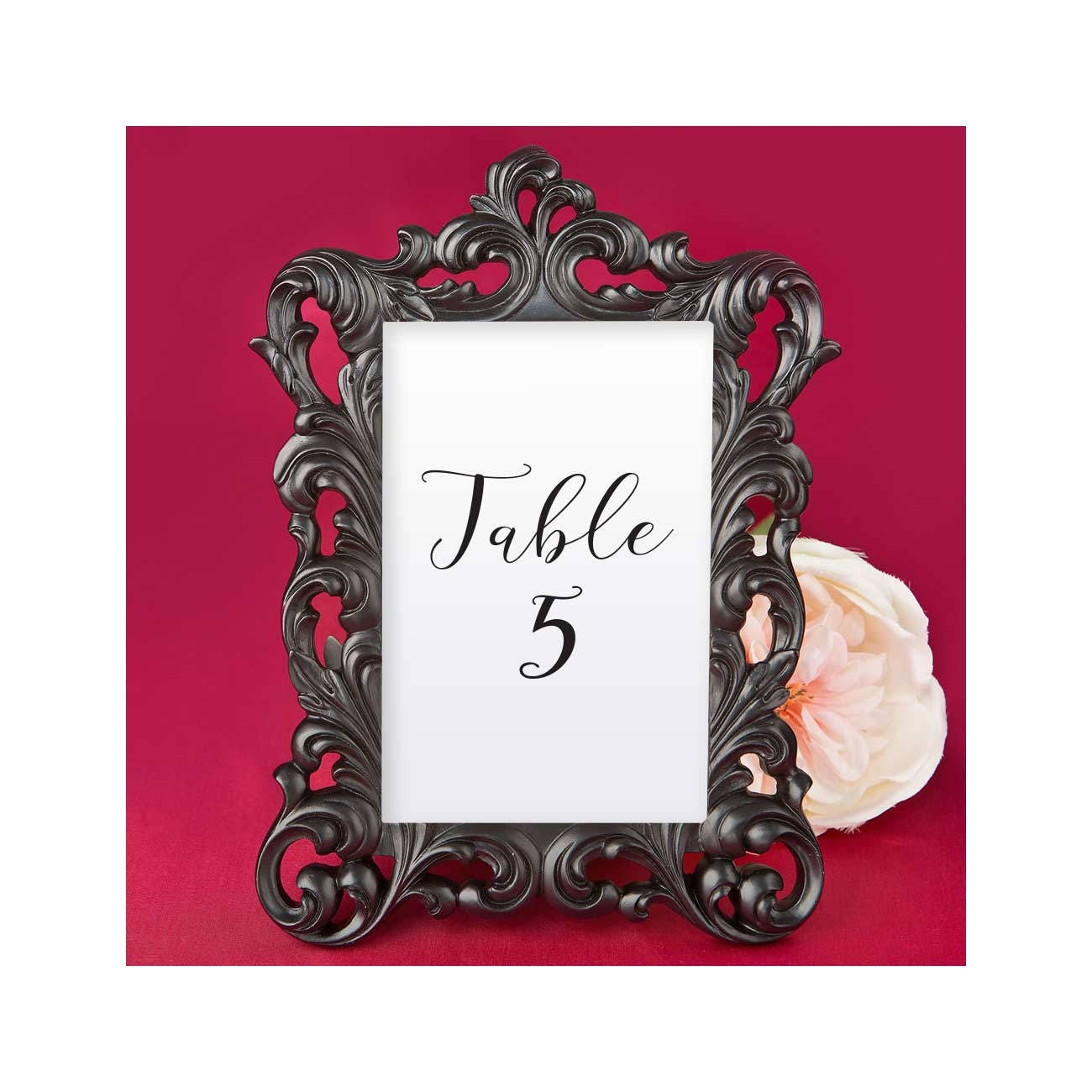 Black Picture Frames 7 Set 4 x 6 inches Baroque Table