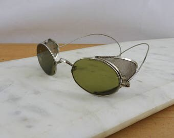 Vintage Steampunk Willson Aviator Driving Safety Glasses, Steampunk Goggles, Motorcycle Eyeglasses