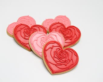 Decorated Cookies - Rose Hearts - 1 Dozen