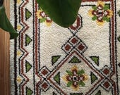 mid century boho geometric shag rug. latch hook modernist scandinavian mid century 1970s area rug. folk rustic latch hook carpet