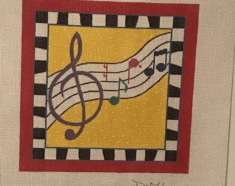 "Clearance - ""Music"" Handpainted Needlepoint Canvas by DeElda Wittmack"
