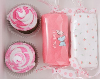 Butterfly baby girl gift - Baby Shower Gift Set Washcloth Cupcake Gift Box butterfly - newborn baby gift