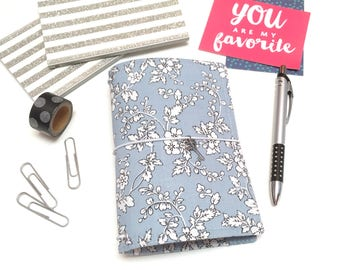 A6 Fauxdori Cover. A5 Travelers Notebook Cover. Travel Journal A5 Cover.  B6 Vegan Fauxdori. School Planner Cover- Blue and White Flowers