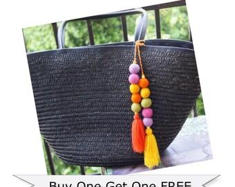 Bag Charm, Pom Pom Charm, Pom Pom Keychain, Tassel Bag Charm, Pom Pom Bag Charm, Beach Bag Charm, Tassel, Felt Ball Charm Keychain, Charm