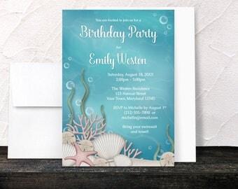 Under the Sea Birthday Party Invitations - Whimsical Underwater design - Aquarium - Aqua Blue and Beige Sand - Printed Invitations