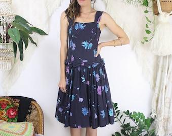Vintage Laura Ashley dress, Low back Cotton Floral 80s Party dress, XS Small 3638