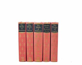 Pink Coral Small Decorative Books, Wedding Decor Centerpiece, Antique Book Collection, Old Book Set, Ornate Book BUndle