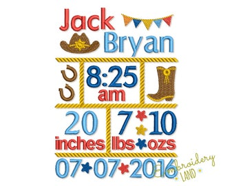 Cowboy Birth Template Embroidery Designs Set - Fill stitch embroidery design 3 sizes BA029
