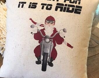 Biker Santa Christmas Pillow, 12x12, rustic, santa, biker, motorcycle, vintage