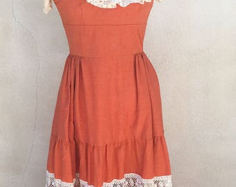 Vintage boho long dress burnt orange cream lace by Couriers CA sz xs 4