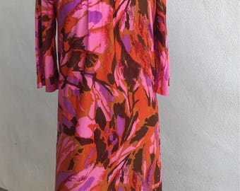 Vintage mod floral dress neon pinks by Carole Chris sz S/M