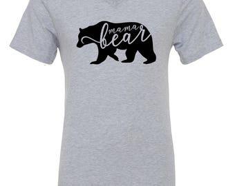 Mama Bear T-Shirt {heather gray v-neck} S-XXL