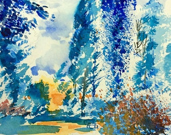 Snow at Westernbirt Arboretum - print from an original watercolour painting by John Menage size A3 or A4
