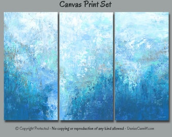 LARGE blue abstract wall art, 3 piece canvas print set, Teal turquoise home decor, Triptych, Multi panel, Master bedroom, Office