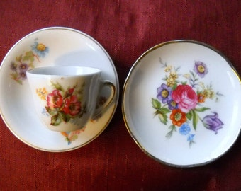 Vintage Toy Tea Cup and Plate, Toy  China Tea Set, Floral Cup and Saucer, Miniature Plate and Tea Cup, Tea Party Set, Cherry China Toy Plate