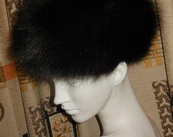 Vintage Fur Hat Fox Fluffy Dark Brown Fox Fur Hat Cossack Pillbox Mod Boho 22 in