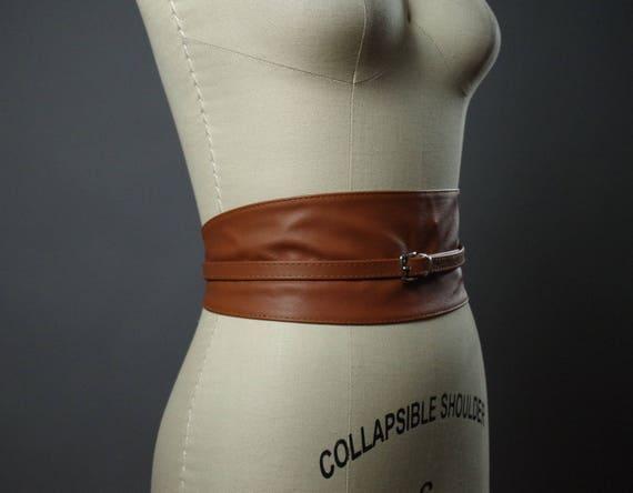 Vegan Leather Obi Belt - Brown Vegan Leather Obi Belt - Women's Wrap Belt - Brown Obi Belt - Rustic Brown Belt