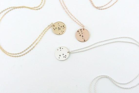 Zodiac Jewelry, Constellation Necklace, Birthday Gift, 12 Zodiac Signs Necklace, Gold zodiac Necklace, Astrology jewelry, Zodiac Sign
