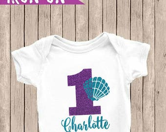 Personalized First Birthday Outfit, Mermaid First Birthday, First Birthday Iron-On, Mermaid Birthday Outfit, Birthday Iron On