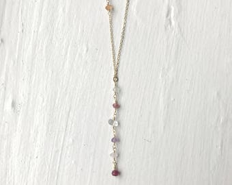 Ruby Drop Gold Lariat Necklace/Gold Necklace/Birthstone Necklace/Ruby Gold Necklace/Bridesmaids Jewelry/Delicate Layer Gold Necklace/Crystal