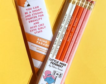 Little Miss Feminist Pencil Set | the future is female, feminist gift, protest pencil, political, nevertheless, resist, gift for her, girls
